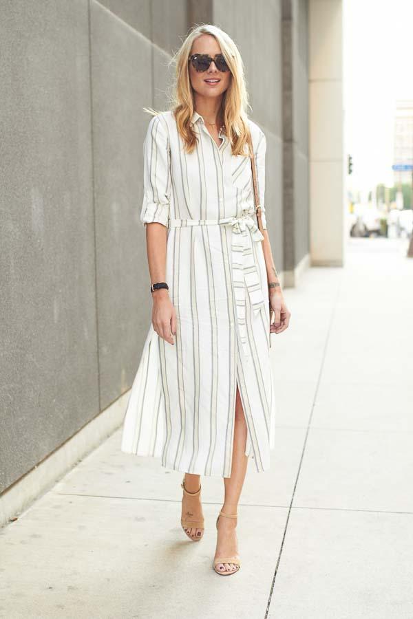 как носить платье рубашку в белую полоску