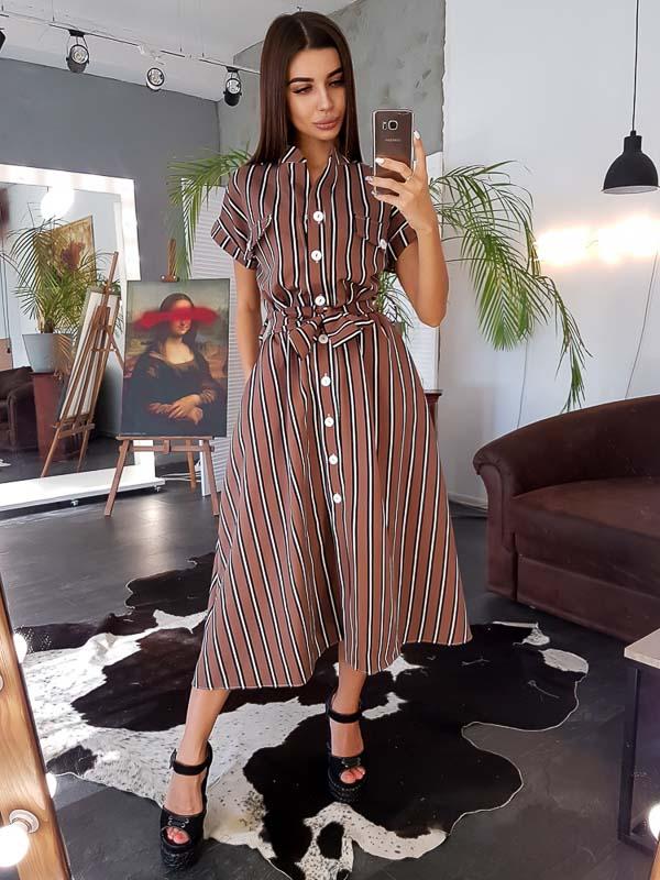 как носить платье рубашку в полоску коричневое