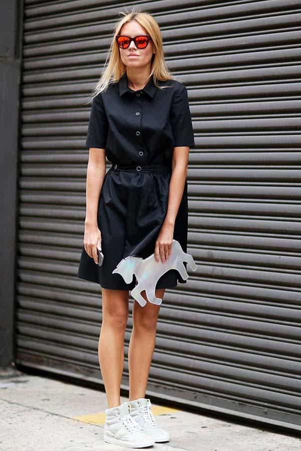 как носить платье рубашку черная