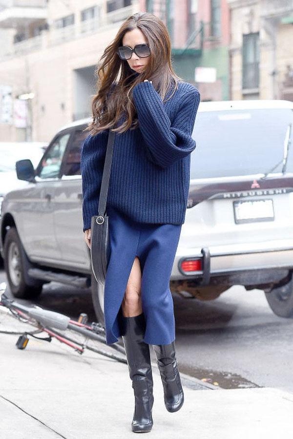 юбка миди синяя