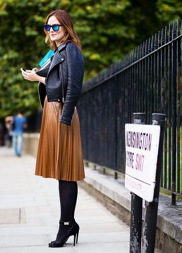 юбка миди коричневая с коженкой