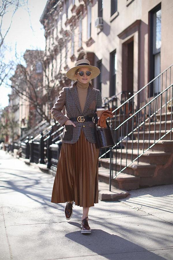 юбка миди коричневая с пиджаком
