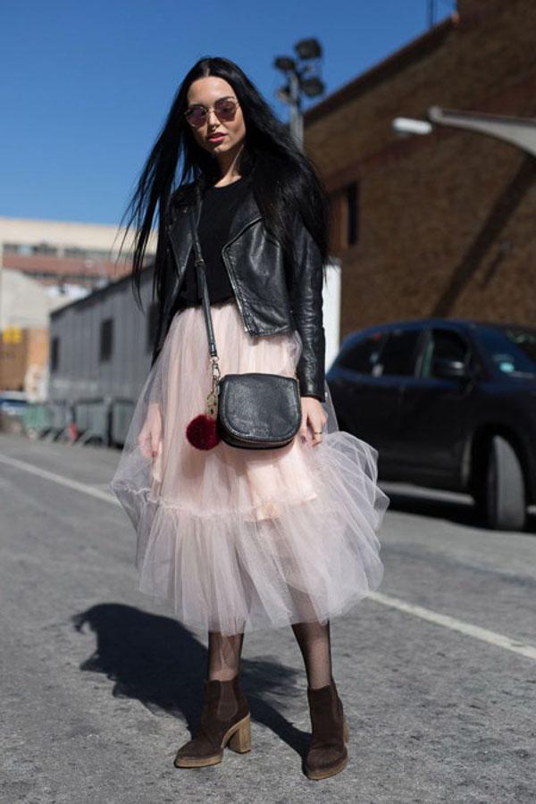 юбка миди пышная розовая