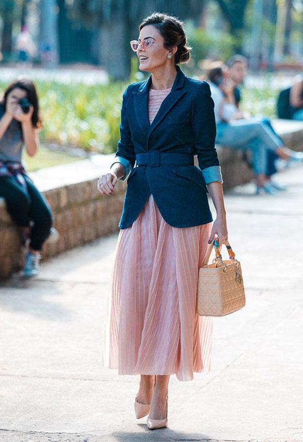 юбка миди плиссе розовая с пиджаком