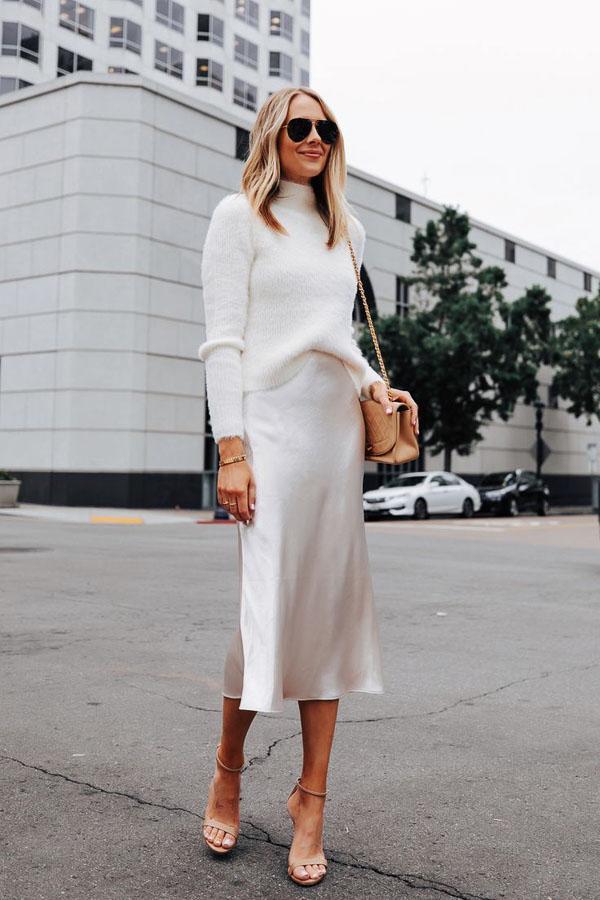 белая прямая юбка миди
