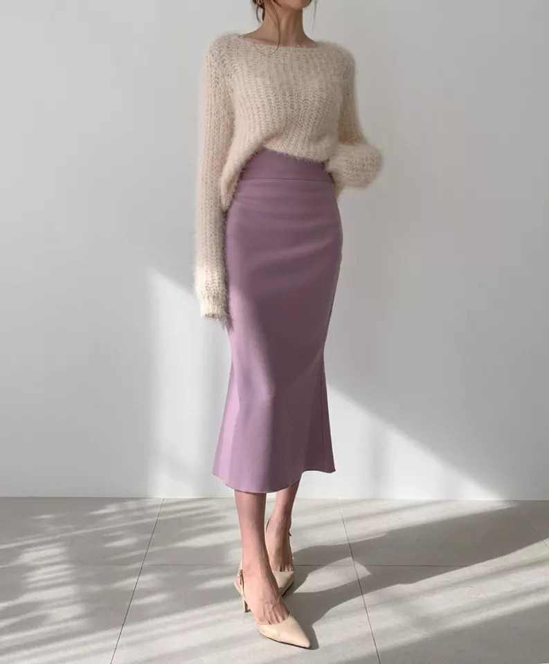 юбка миди русалка розовая