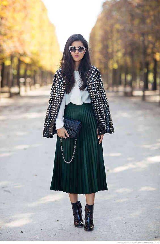 юбка миди с пиджаком черно белой