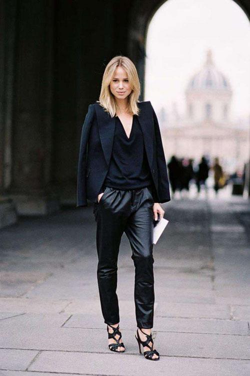 как носить кожаные брюки бананы с черной рубашкой
