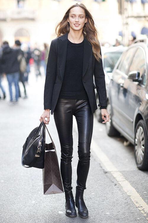 как носить Черные кожаные брюки с пиджаком