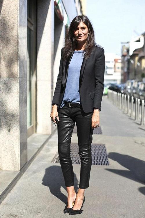 как носить кожаные брюки укороченные с пиджаком