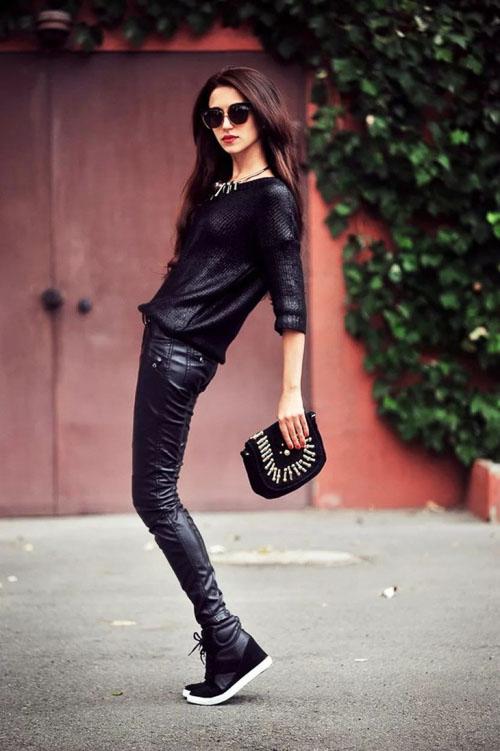 как носить кожаные брюки обувь