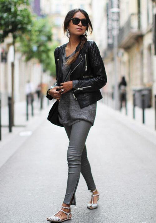 как носить серые кожаные брюки с косухой