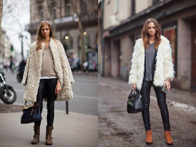как носить кожаные брюки зимой с шубой