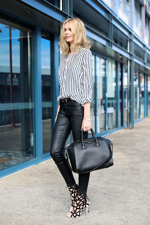 Черные кожаные брюки с рубашкой