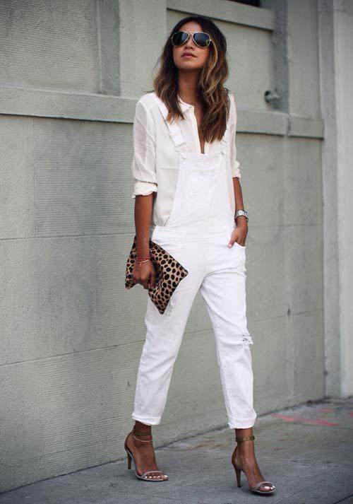 белый комбинезон с белой рубашкой