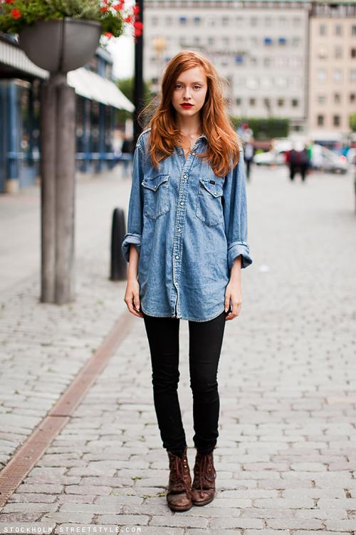 как носить джиную джинсовую рубашку