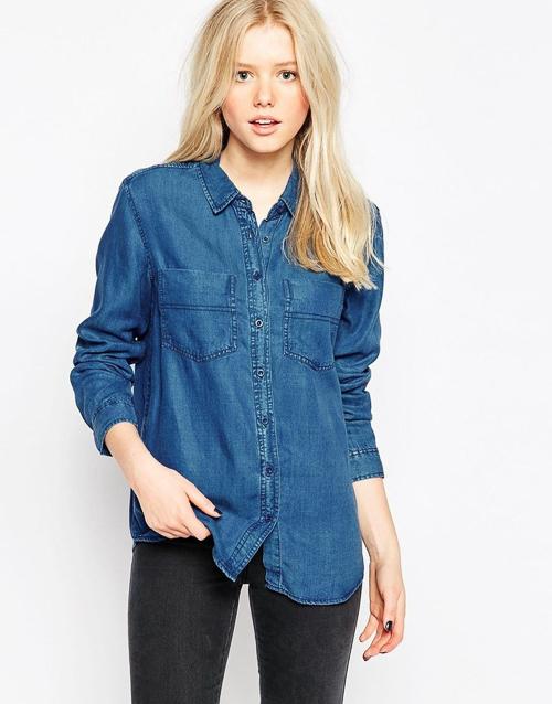 с чем носить джиную джинсовую рубашку