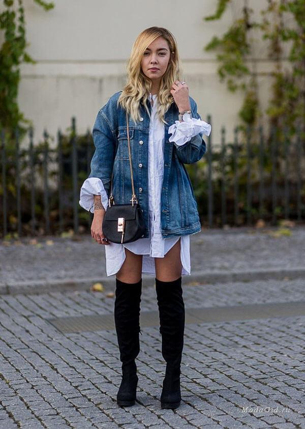 джинсовая куртка оверсайз с платьем