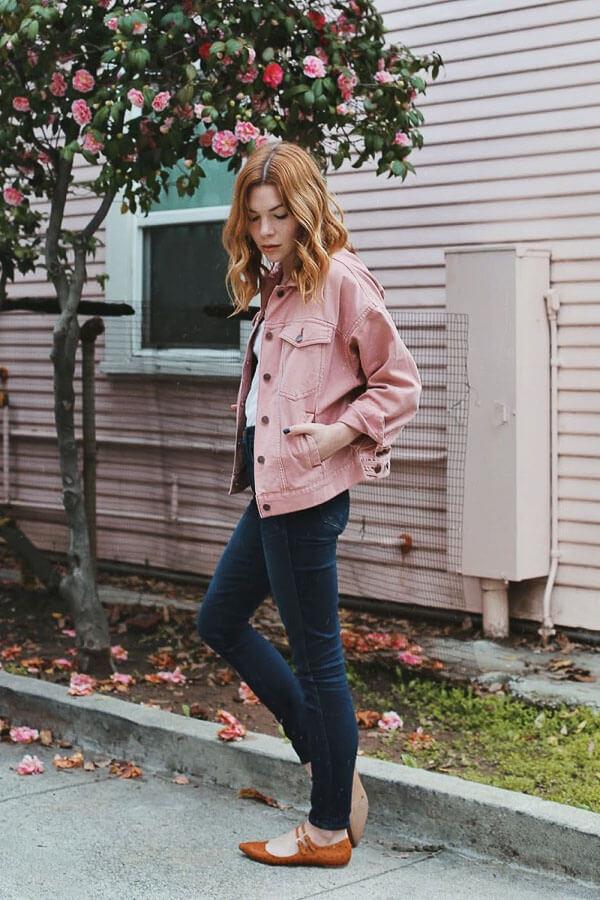 джинсовая куртка розовая с чем сочетать