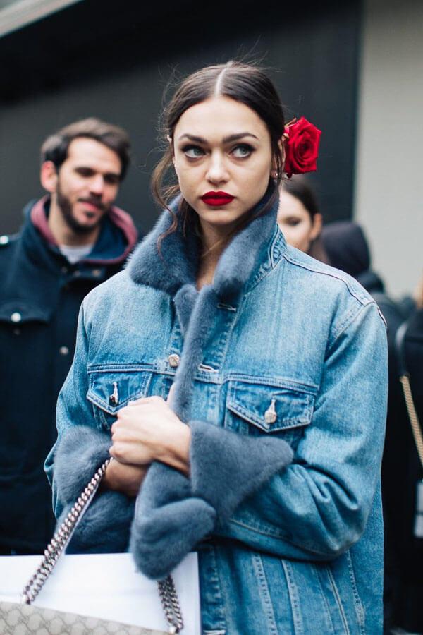 джинсовая куртка с мехом модель