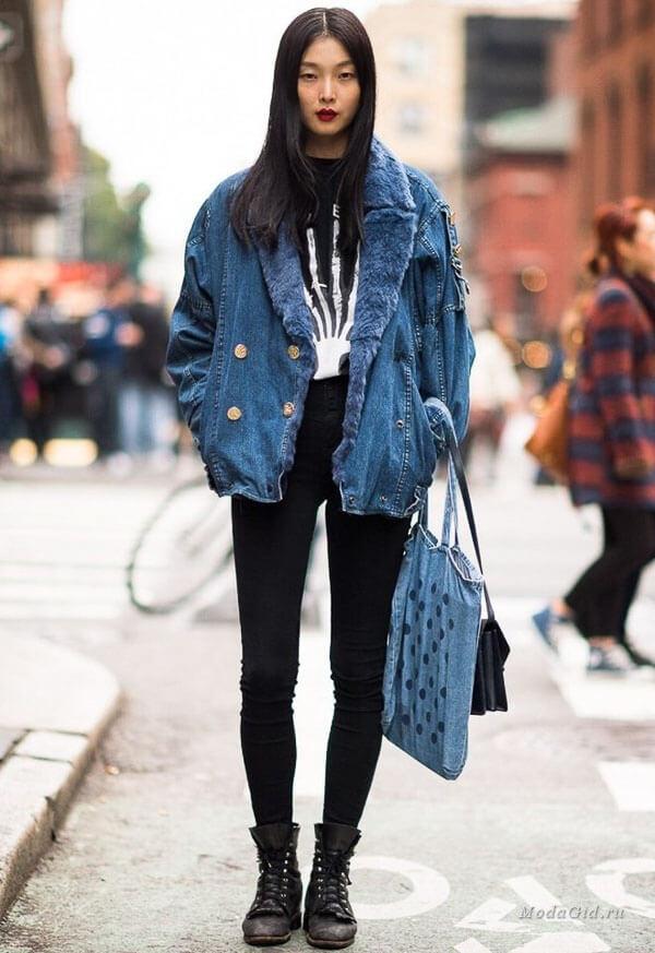 джинсовая куртка с мехом и ботинками