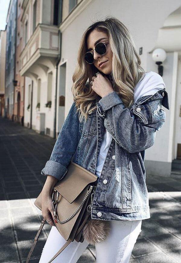 джинсовая куртка серая с балахоном
