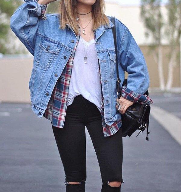 джинсовая куртка удлиненная с клетчатой рубашкой