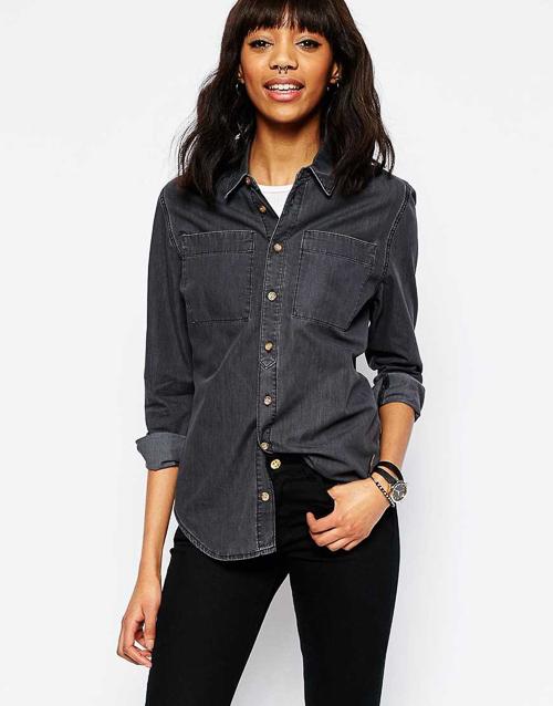 как носить черную джинсовую рубашку и брюки
