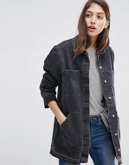 С чем носить черную джинсовую рубашку куртку