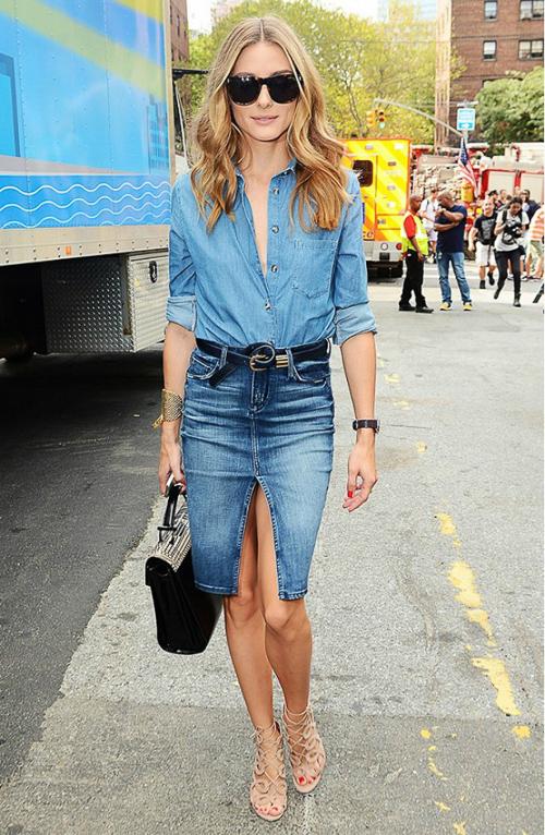 джинсовая рубашка с джинсовой юбкой с вырезом
