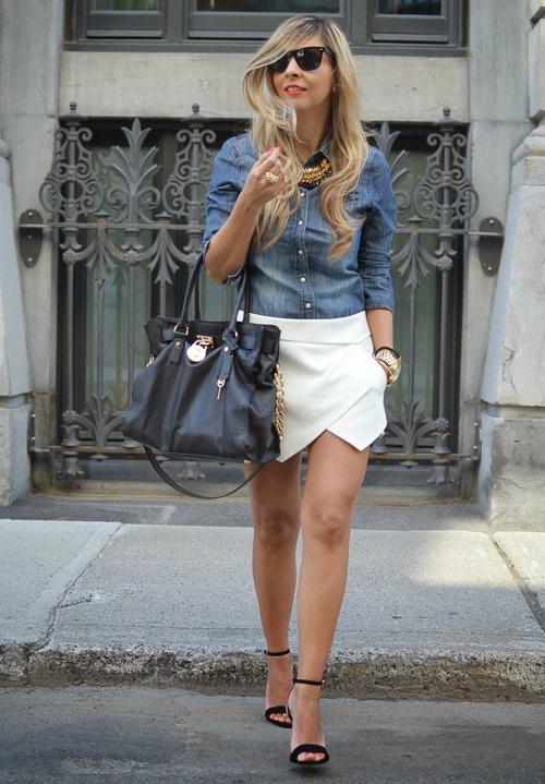 джинсовая рубашка с белой юбкой