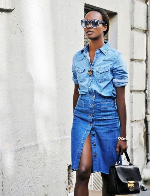 джинсовая рубашка с джинсовой юбкой на пуговицах