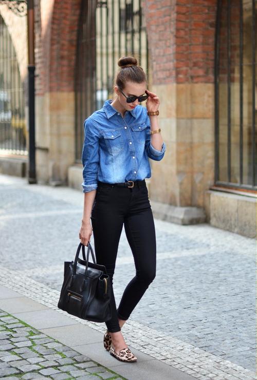 с чем носить джинсовую рубашку без рукавов с черными джинсами