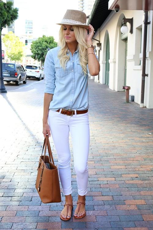 с чем носить джинсовую рубашку без рукавов с белыми джинсами
