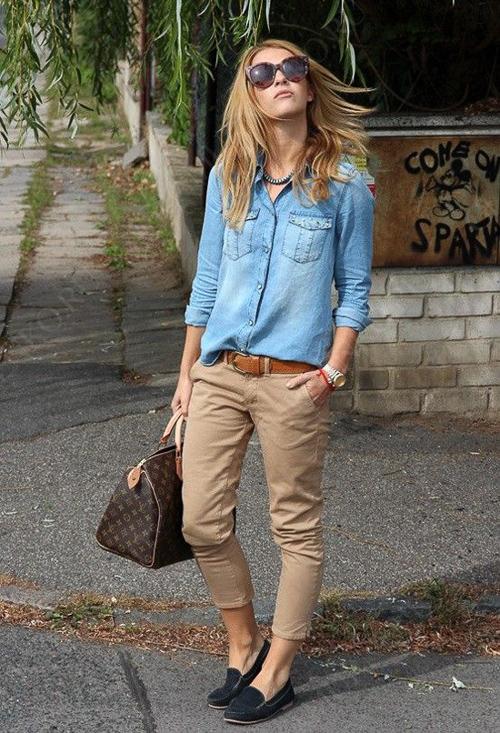 с чем носить джинсовую рубашку с коричневыми брюками