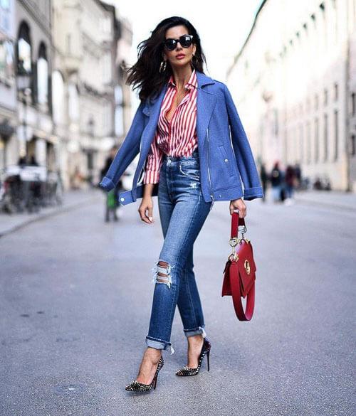 Укороченные рваные джинсы с пиджаком