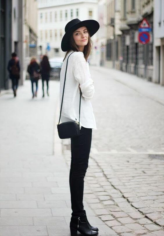 с чем носить шляпу федора черную  с белой рубашкой