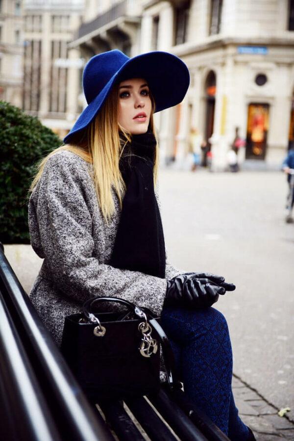 с чем носить шляпу федора фетр синяя с серым пальто